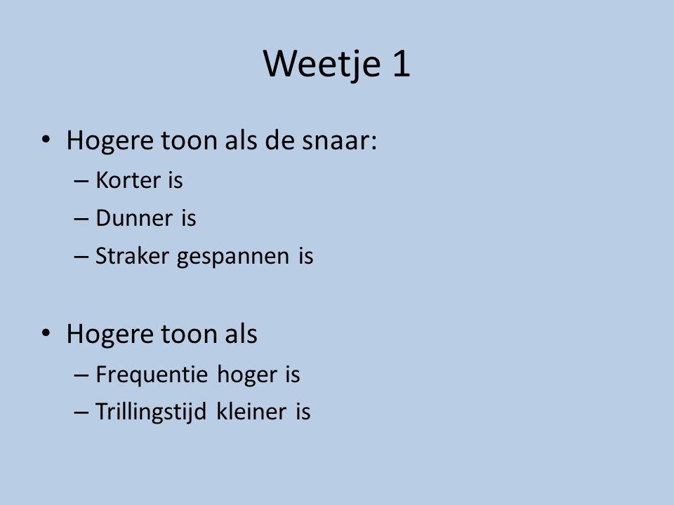 Weetje 1 Hogere toon als de snaar: – Korter is – Dunner is – Straker gespannen is Hogere toon als – Frequentie hoger is – Trillingstijd kleiner is
