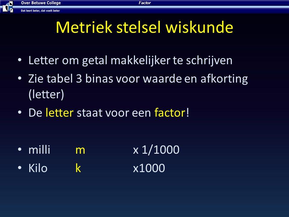 Metriek stelsel wiskunde Letter om getal makkelijker te schrijven Zie tabel 3 binas voor waarde en afkorting (letter) De letter staat voor een factor!