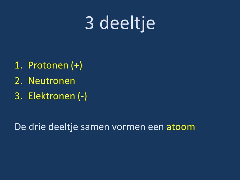 3 deeltje 1.Protonen (+) 2.Neutronen 3.Elektronen (-) De drie deeltje samen vormen een atoom