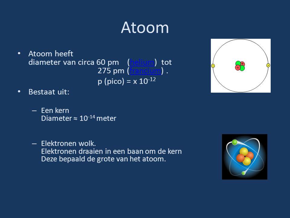 Atoom Atoom heeft diameter van circa 60 pm (helium) tot 275 pm (francium).heliumfrancium p (pico) = x 10 -12 Bestaat uit: – Een kern Diameter ≈ 10 -14