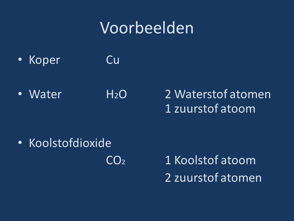 Voorbeelden KoperCu WaterH 2 O2 Waterstof atomen 1 zuurstof atoom Koolstofdioxide CO 2 1 Koolstof atoom 2 zuurstof atomen