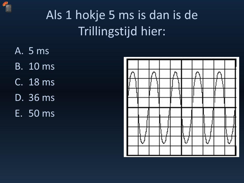 Als 1 hokje 5 ms is dan is de Trillingstijd hier: A.5 ms B.10 ms C.18 ms D.36 ms E.50 ms