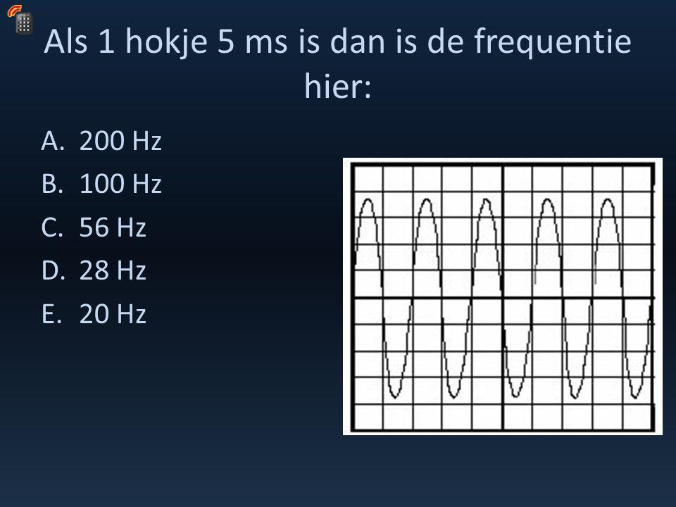 Als 1 hokje 5 ms is dan is de frequentie hier: A.200 Hz B.100 Hz C.56 Hz D.28 Hz E.20 Hz