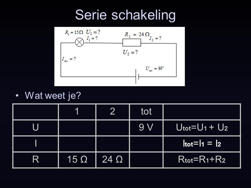 Serie schakeling Wat weet je? 12tot U9 VU tot =U 1 + U 2 II tot =I 1 = I 2 R15 Ω24 ΩR tot =R 1 +R 2