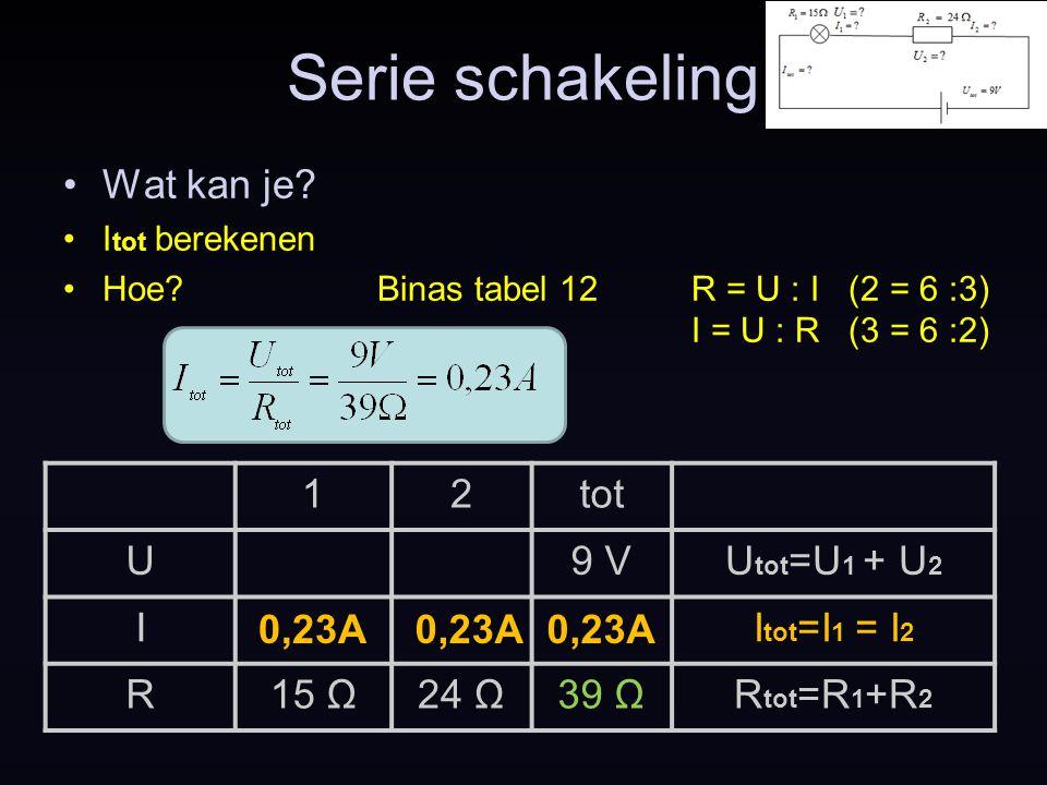 Serie schakeling Wat kan je? I tot berekenen Hoe?Binas tabel 12R = U : I (2 = 6 :3) I = U : R (3 = 6 :2) 0,23A 12tot U9 VU tot =U 1 + U 2 II tot =I 1