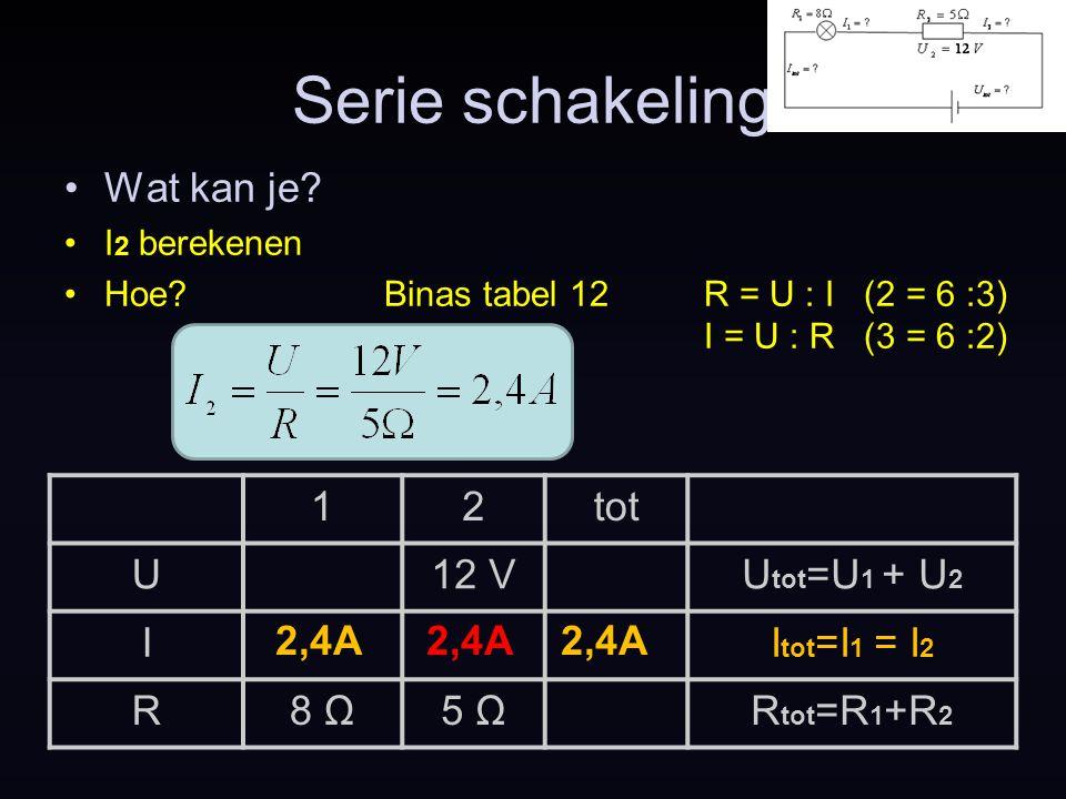 Serie schakeling Wat kan je? I 2 berekenen Hoe?Binas tabel 12R = U : I (2 = 6 :3) I = U : R (3 = 6 :2) 2,4A 12tot U12 VU tot =U 1 + U 2 II tot =I 1 =
