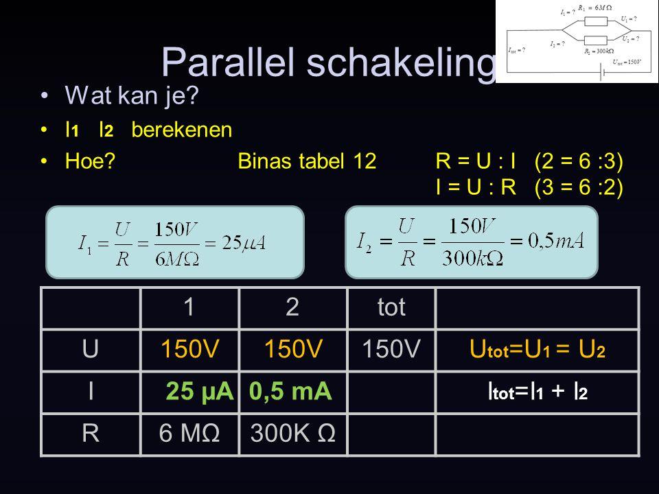Parallel schakeling Wat kan je.I tot berekenen.