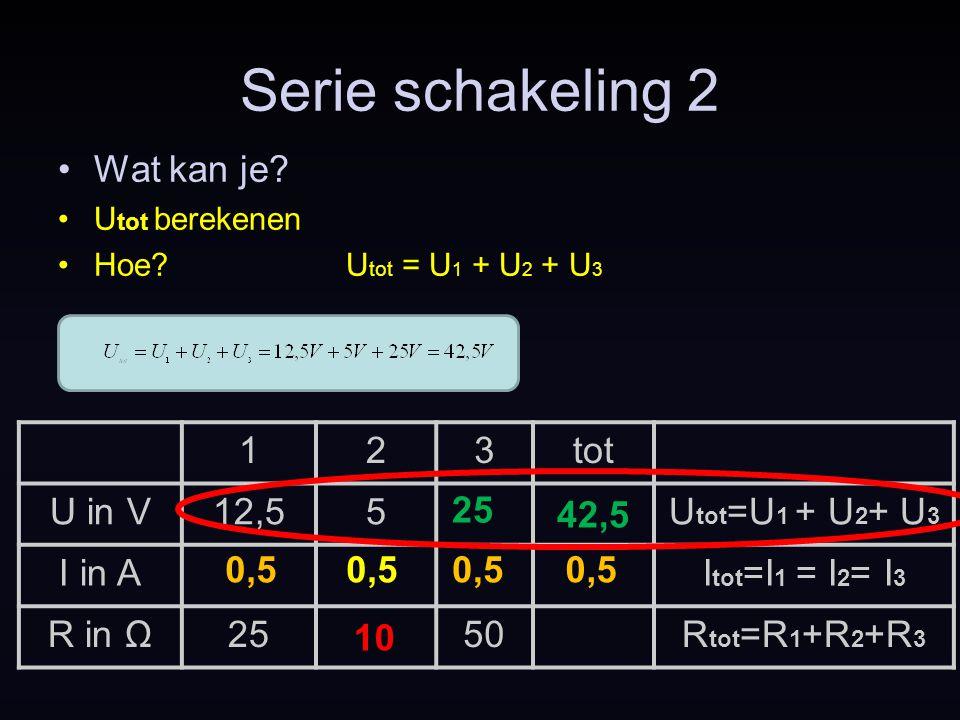 123tot U in V12,55U tot =U 1 + U 2 + U 3 I in AI tot =I 1 = I 2 = I 3 R in Ω2550R tot =R 1 +R 2 +R 3 Serie schakeling 2 0,5 10 25 0,5 Wat kan je? U to