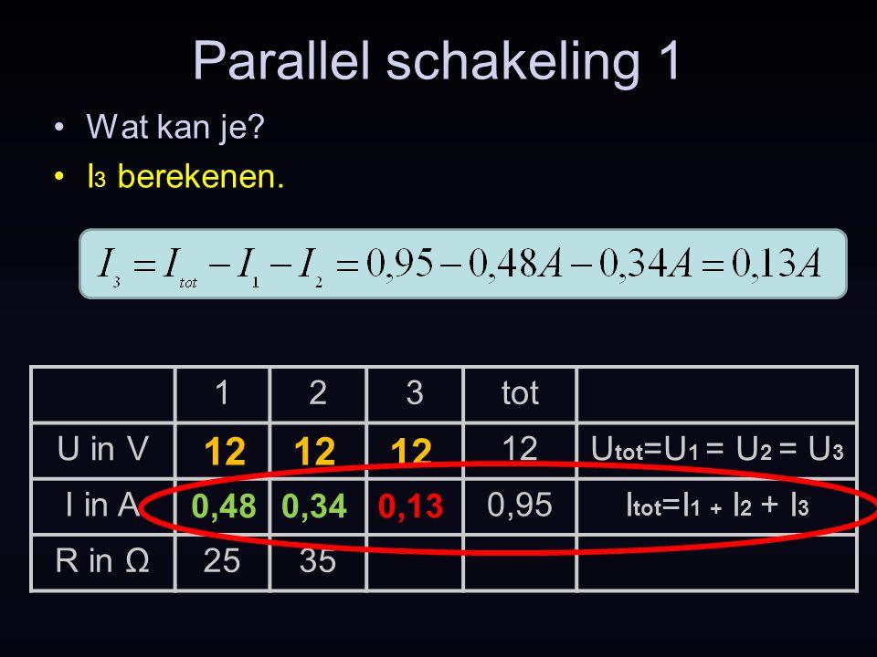 Parallel schakeling 1 Wat kan je? I 3 berekenen. 123tot U in V12U tot =U 1 = U 2 = U 3 I in A0,95I tot =I 1 + I 2 + I 3 R in Ω2535 0,480,34 12 0,13