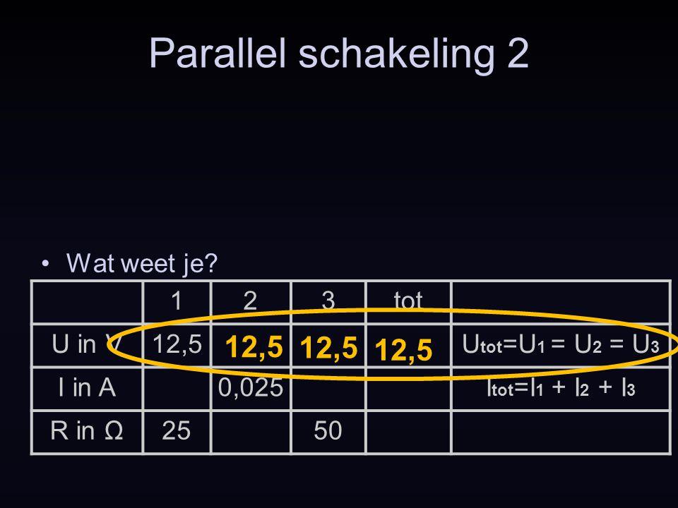 123tot U in V12,5U tot =U 1 = U 2 = U 3 I in A0,025I tot =I 1 + I 2 + I 3 R in Ω2550 Parallel schakeling 2 Wat weet je? 12,5