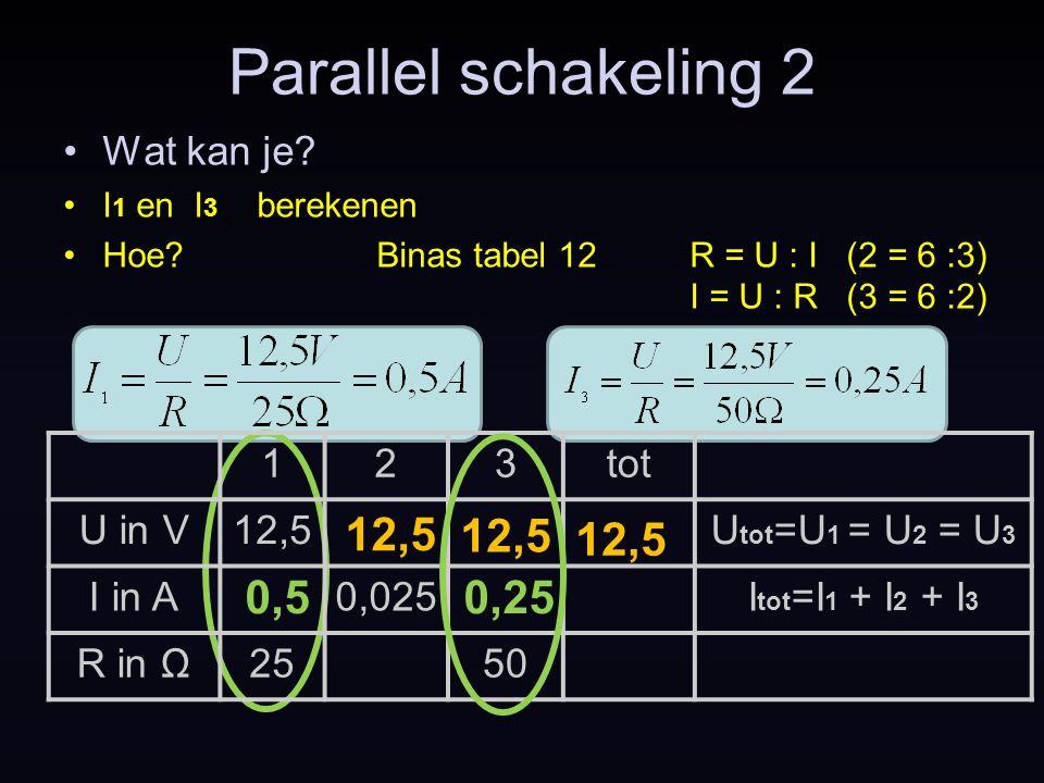 Parallel schakeling 2 Wat kan je? I 1 en I 3 berekenen Hoe?Binas tabel 12R = U : I (2 = 6 :3) I = U : R (3 = 6 :2) 123tot U in V12,5U tot =U 1 = U 2 =