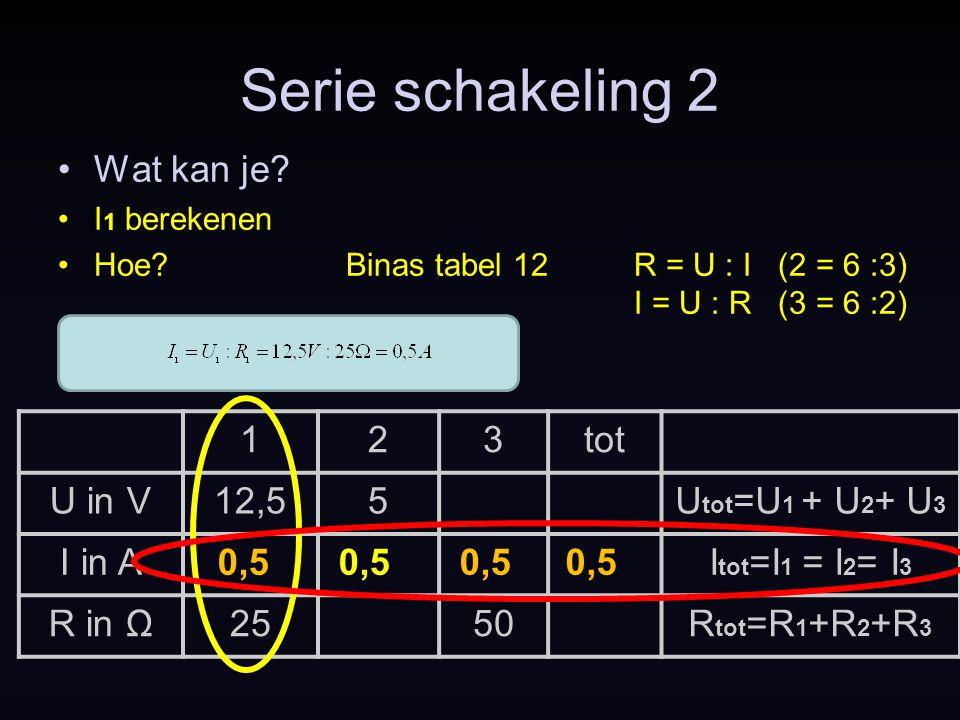 123tot U in V12,55U tot =U 1 + U 2 + U 3 I in AI tot =I 1 = I 2 = I 3 R in Ω2550R tot =R 1 +R 2 +R 3 Serie schakeling 2 Wat kan je? I 1 berekenen Hoe?