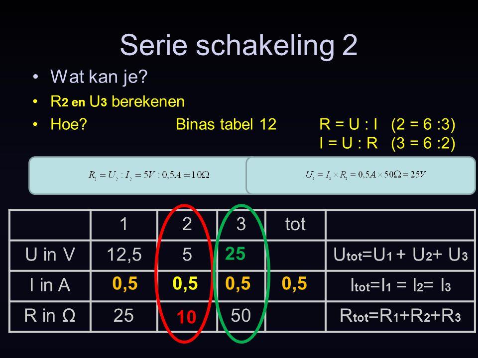 123tot U in V12,55U tot =U 1 + U 2 + U 3 I in AI tot =I 1 = I 2 = I 3 R in Ω2550R tot =R 1 +R 2 +R 3 Serie schakeling 2 Wat kan je? R 2 en U 3 bereken