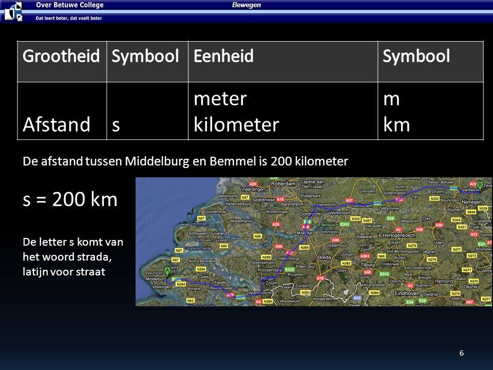 6 Bewegen Afstands meter kilometer m km De afstand tussen Middelburg en Bemmel is 200 kilometer s = 200 km De letter s komt van het woord strada, lati
