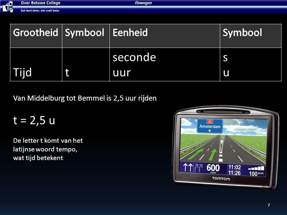 7 Bewegen Tijdt seconde uur susu Van Middelburg tot Bemmel is 2,5 uur rijden t = 2,5 u De letter t komt van het latijnse woord tempo, wat tijd beteken