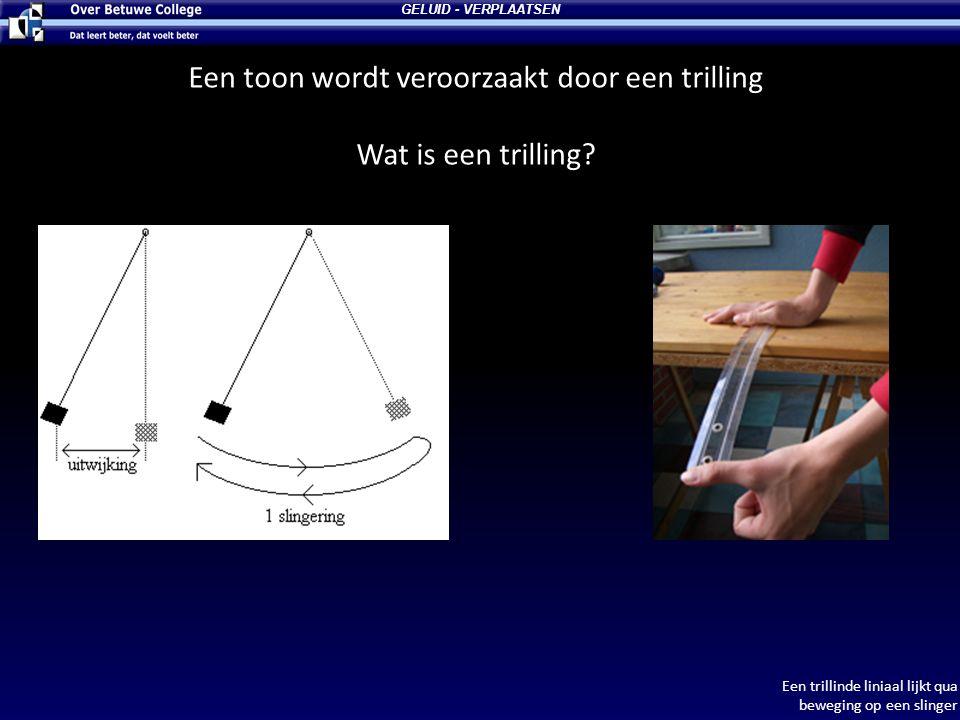 GELUID - VERPLAATSEN Een toon wordt veroorzaakt door een trilling Wat is een trilling? Een trillinde liniaal lijkt qua beweging op een slinger