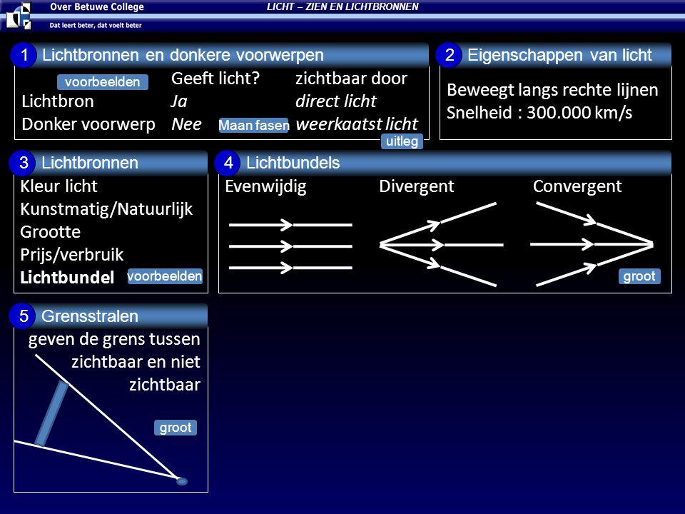 Geeft licht?zichtbaar door Lichtbron Jadirect licht Donker voorwerp Neeweerkaatst licht Lichtbronnen en donkere voorwerpen 1 Beweegt langs rechte lijn
