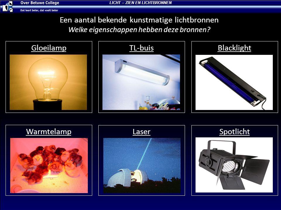 TL-buis Wit licht Brede lichtbron Divergerend Een aantal bekende kunstmatige lichtbronnen Welke eigenschappen hebben deze bronnen? LICHT – ZIEN EN LIC
