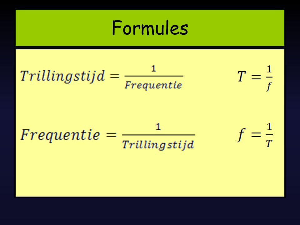 f = 1Hz=> T = 1 s f = 2Hz=> T = 1/2s = 0,5s f = 4Hz=> T = 1/4s = 0,25s f = 10Hz=> T = 1/10s = 0,1s De samenhang f & T zijn Omgekeerd evenredig 1s