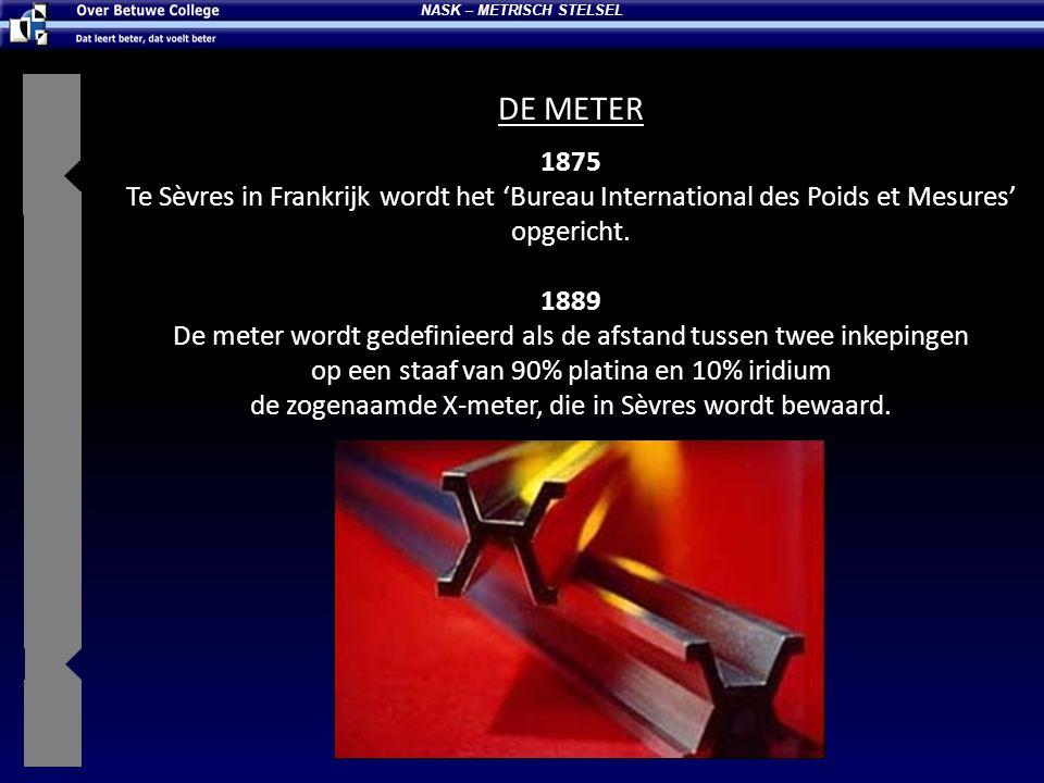1875 Te Sèvres in Frankrijk wordt het 'Bureau International des Poids et Mesures' opgericht. 1889 De meter wordt gedefinieerd als de afstand tussen tw