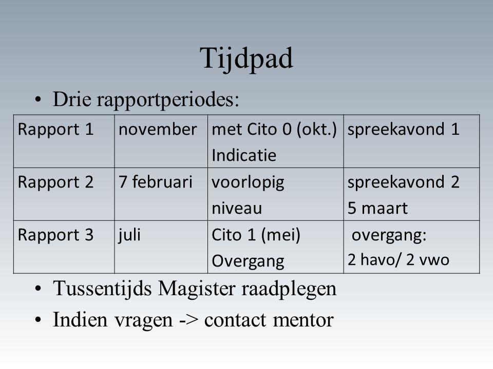 Tijdpad Drie rapportperiodes: Tussentijds Magister raadplegen Indien vragen -> contact mentor Rapport 1november met Cito 0 (okt.) Indicatie spreekavon