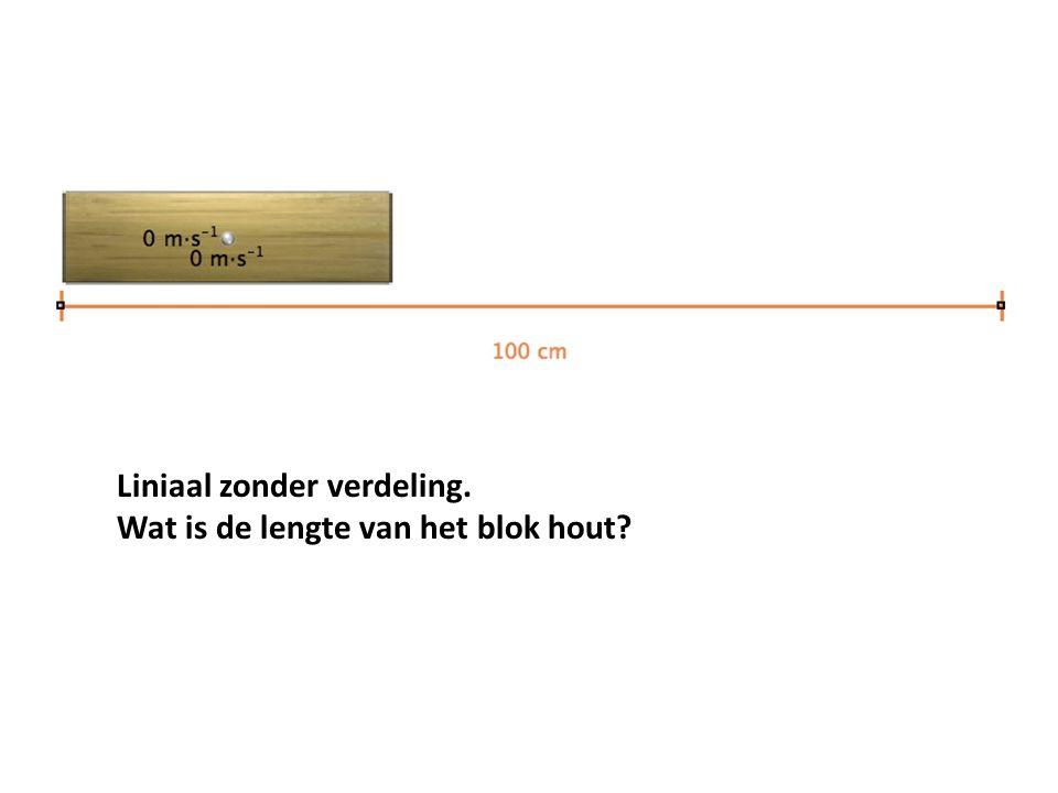 Liniaal zonder verdeling. Wat is de lengte van het blok hout?