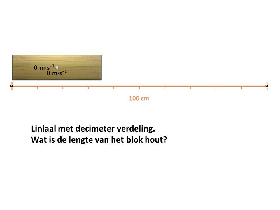 Liniaal met decimeter verdeling. Wat is de lengte van het blok hout?