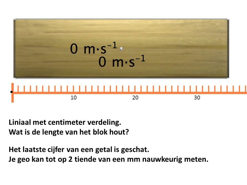 Liniaal met centimeter verdeling. Wat is de lengte van het blok hout? 1020 30 Het laatste cijfer van een getal is geschat. Je geo kan tot op 2 tiende