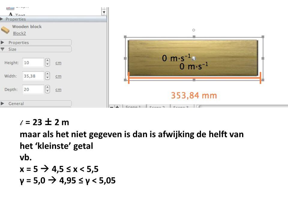 l = 23 ± 2 m maar als het niet gegeven is dan is afwijking de helft van het 'kleinste' getal vb. x = 5  4,5 ≤ x < 5,5 γ = 5,0  4,95 ≤ γ < 5,05