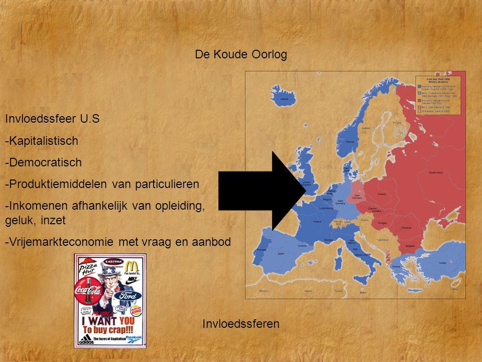 De Koude Oorlog Invloedssferen Invloedssfeer U.S -Kapitalistisch -Democratisch -Produktiemiddelen van particulieren -Inkomenen afhankelijk van opleidi