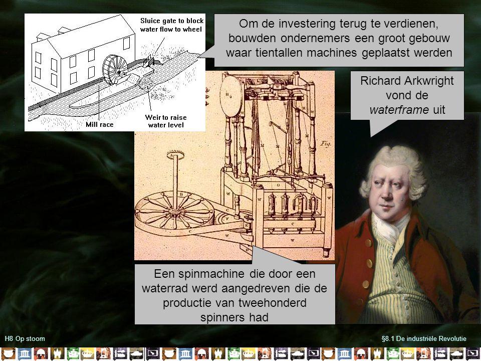Een spinmachine die door een waterrad werd aangedreven die de productie van tweehonderd spinners had H8 Op stoom§8.1 De industriële Revolutie Richard