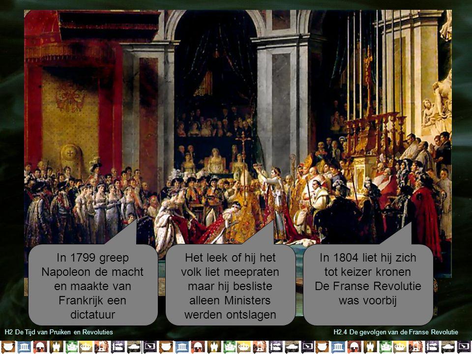 H2 De Tijd van Pruiken en RevolutiesH2.4 De gevolgen van de Franse Revolutie De 1 ste en 2 de stand kregen hun rechten niet terug Iedereen bleef gelijk voor de wet Burgers behielden hun grondrechten zoals vrijheid van meningsuiting, drukpers en godsdienst Wetboeken werden verbeterd en iedereen had recht op een eerlijke rechtspraak