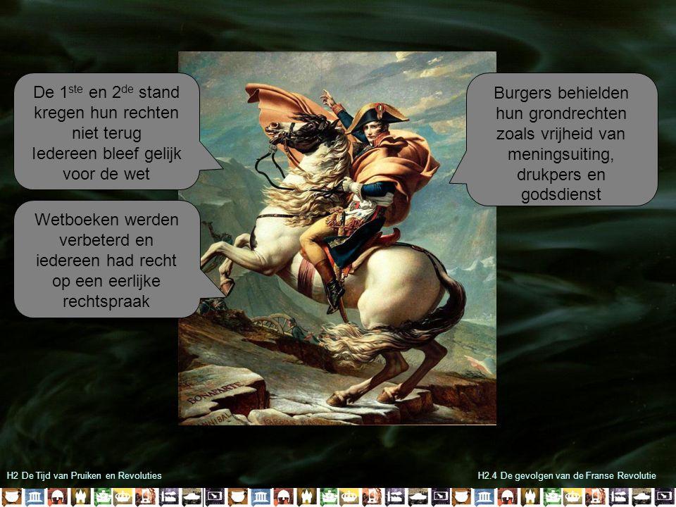 H2 De Tijd van Pruiken en RevolutiesH2.4 De gevolgen van de Franse Revolutie Napoleon bleef oorlog voeren om de ideeën van de Franse Revolutie te verspreiden De mislukte Russische veldtocht van 1812 was het begin van het einde In 1815 werd Napoleon definitief verslagen bij Waterloo