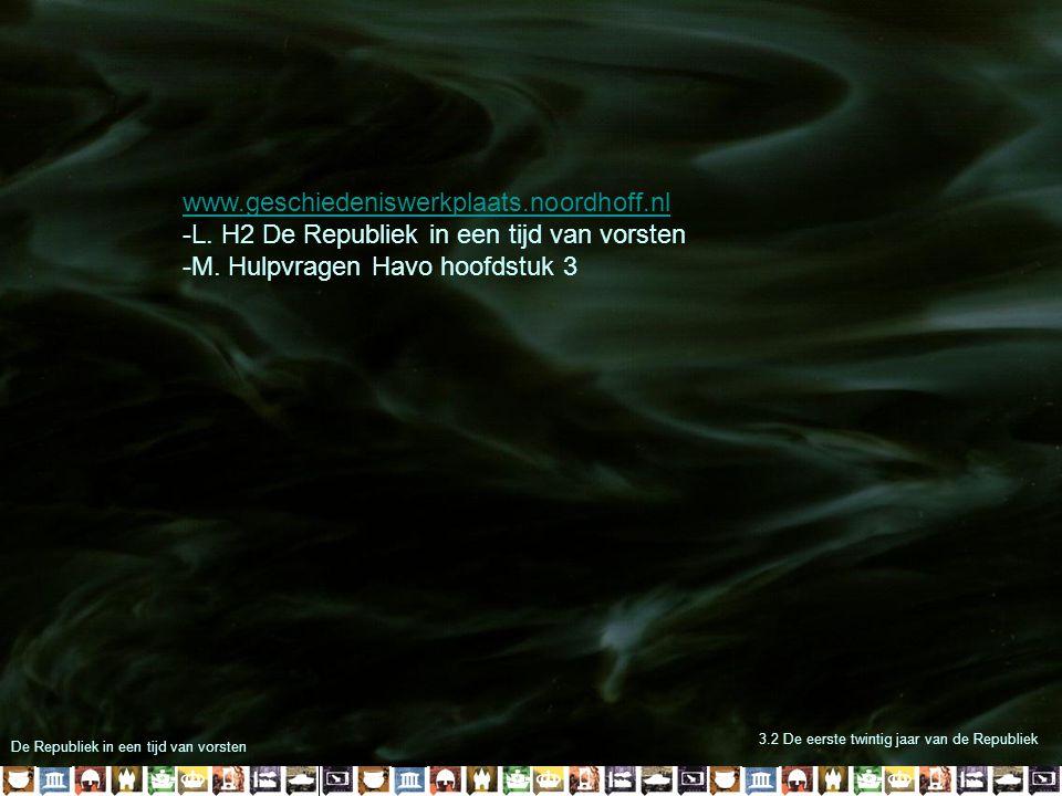 De Republiek in een tijd van vorsten 3.2 De eerste twintig jaar van de Republiek www.geschiedeniswerkplaats.noordhoff.nl -L. H2 De Republiek in een ti