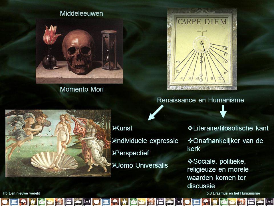 H5 Een nieuwe wereld5.3 Erasmus en het Humanisme Middeleeuwen Renaissance en Humanisme Momento Mori  Kunst  Individuele expressie  Perspectief  Uo