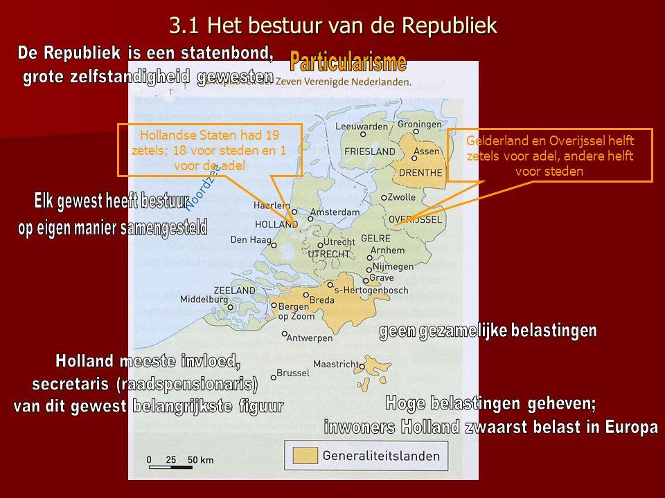 3.1 Het bestuur van de Republiek Hollandse Staten had 19 zetels; 18 voor steden en 1 voor de adel Gelderland en Overijssel helft zetels voor adel, and