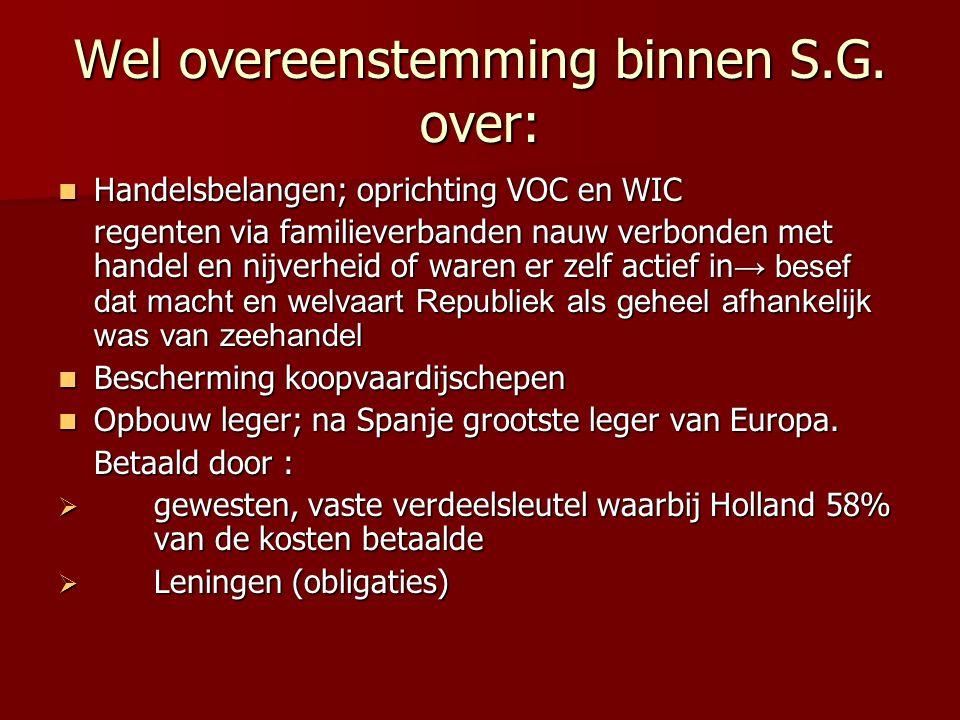 Wel overeenstemming binnen S.G. over: Handelsbelangen; oprichting VOC en WIC Handelsbelangen; oprichting VOC en WIC regenten via familieverbanden nauw
