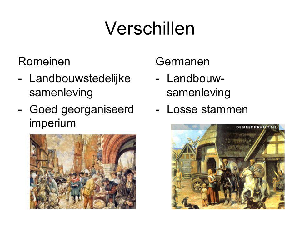 Verschillen Romeinen -Landbouwstedelijke samenleving -Goed georganiseerd imperium Germanen -Landbouw- samenleving -Losse stammen