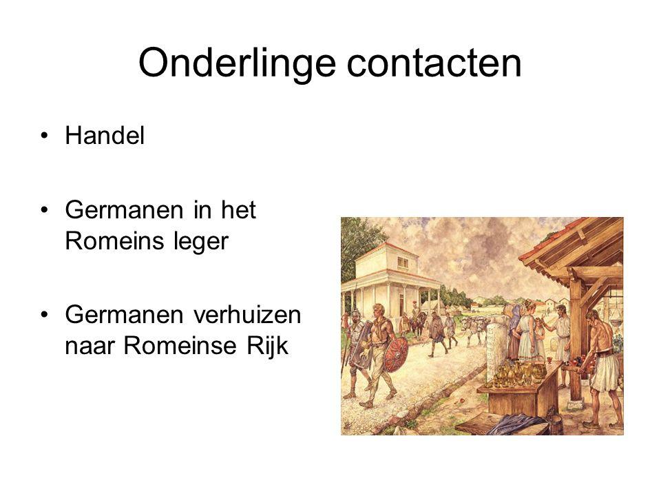Onderlinge contacten Handel Germanen in het Romeins leger Germanen verhuizen naar Romeinse Rijk