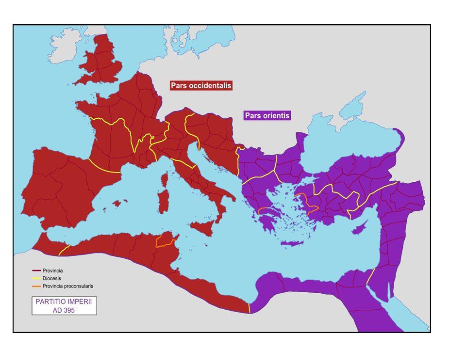 West- en Oost Romeinse Rijk West Romeinse Rijk -Milaan werd de hoofdstad -Latijn werd de officiële taal -Was de mindere wat betreft economie, stabiliteit & defensie Oost Romeinse Rijk -Ook bekend als Byzantijnse Rijk -Constantinopel werd de hoofdstad -Grieks werd de officiële taal -Oost Romeinse Rijk bleef tot 1453 bestaan