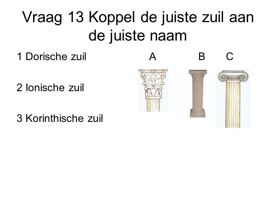 Vraag 13 Koppel de juiste zuil aan de juiste naam 1 Dorische zuil 2 Ionische zuil 3 Korinthische zuil ABC