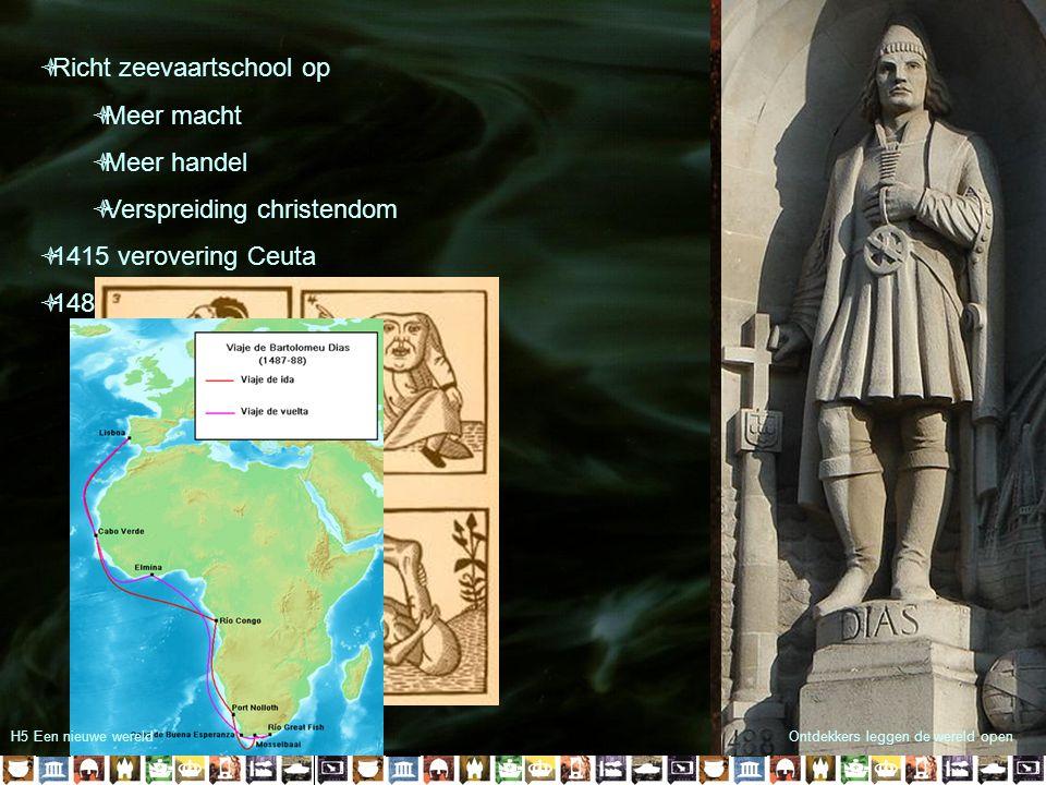 Hendrik de Zeevaarder (1394-1460)  Richt zeevaartschool op  Meer macht  Meer handel  Verspreiding christendom  1415 verovering Ceuta  1488 Barto