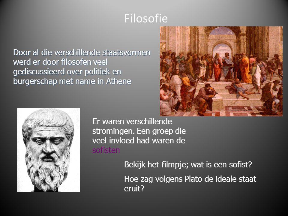 Filosofie Door al die verschillende staatsvormen werd er door filosofen veel gediscussieerd over politiek en burgerschap met name in Athene Er waren v