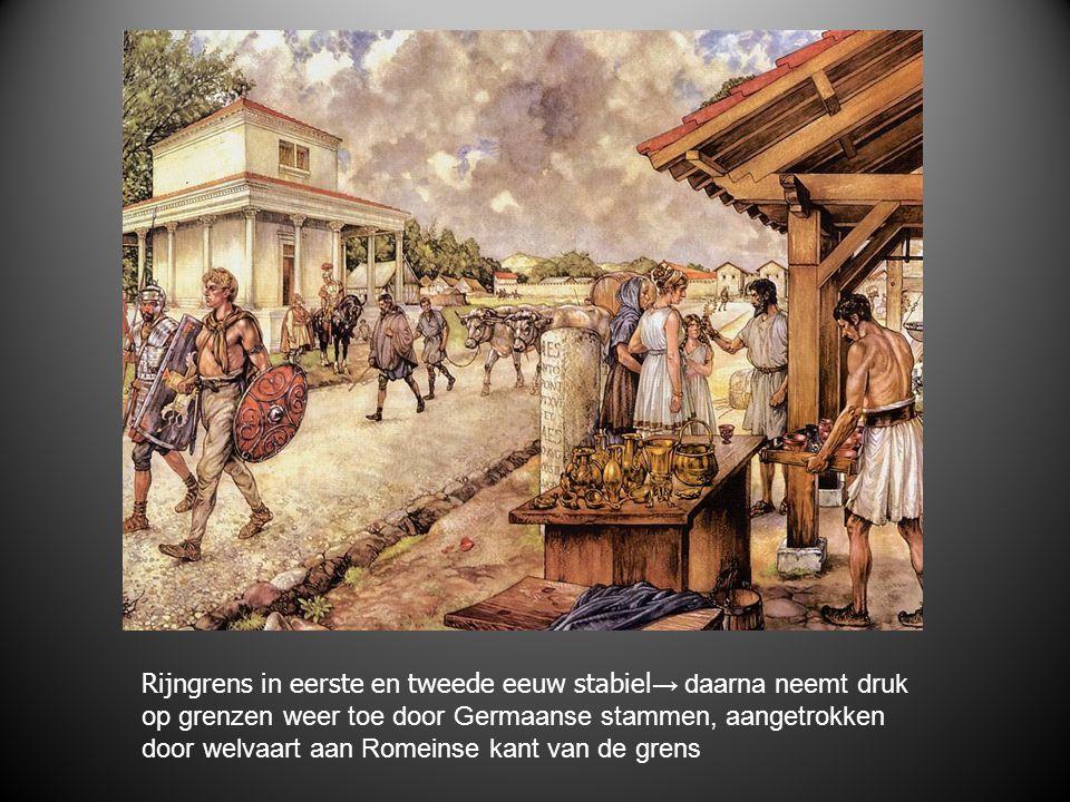 Rijngrens in eerste en tweede eeuw stabiel → daarna neemt druk op grenzen weer toe door Germaanse stammen, aangetrokken door welvaart aan Romeinse kant van de grens