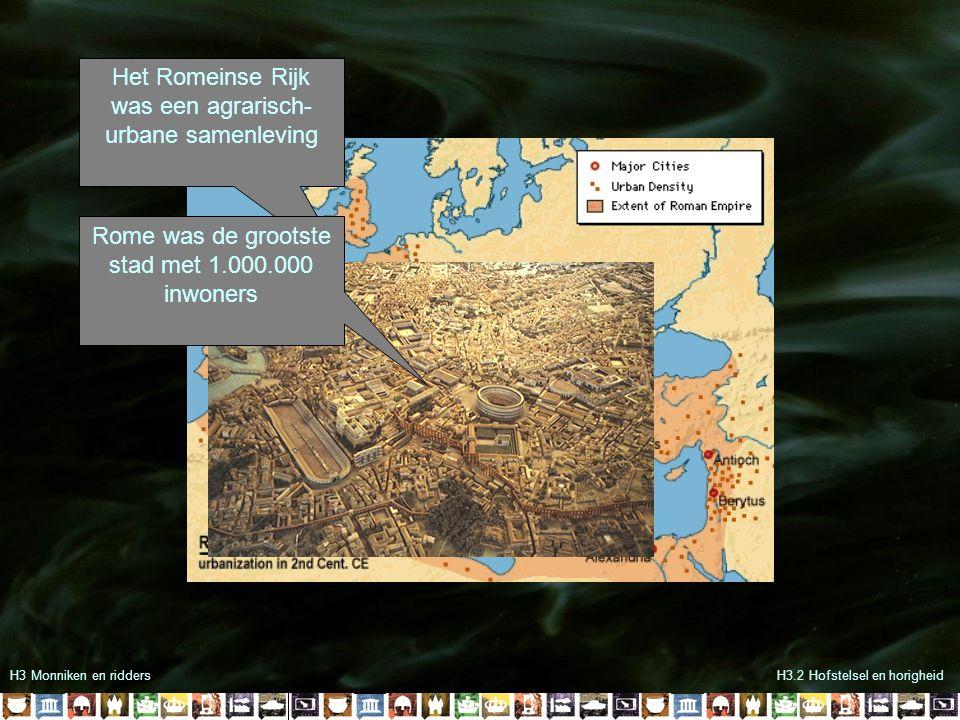 H3 Monniken en riddersH3.2 Hofstelsel en horigheid Het Romeinse Rijk was een agrarisch- urbane samenleving Rome was de grootste stad met 1.000.000 inw