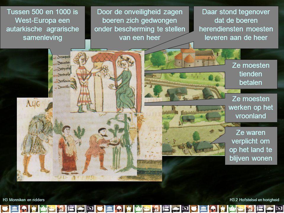 H3 Monniken en riddersH3.2 Hofstelsel en horigheid Tussen 500 en 1000 is West-Europa een autarkische agrarische samenleving Door de onveiligheid zagen
