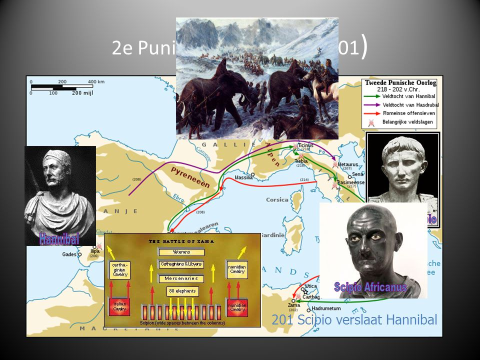 1 e Punische oorlog (264-241) Wie is het machtigst in het Middellandse Zeegebied: Rome of Carthago? Rome wint en breidt invloed uit over Sicilië en Sa