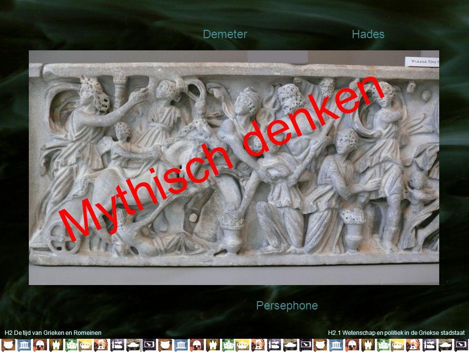 H2 De tijd van Grieken en RomeinenH2.1 Wetenschap en politiek in de Griekse stadstaat Hades Demeter Persephone Mythisch denken