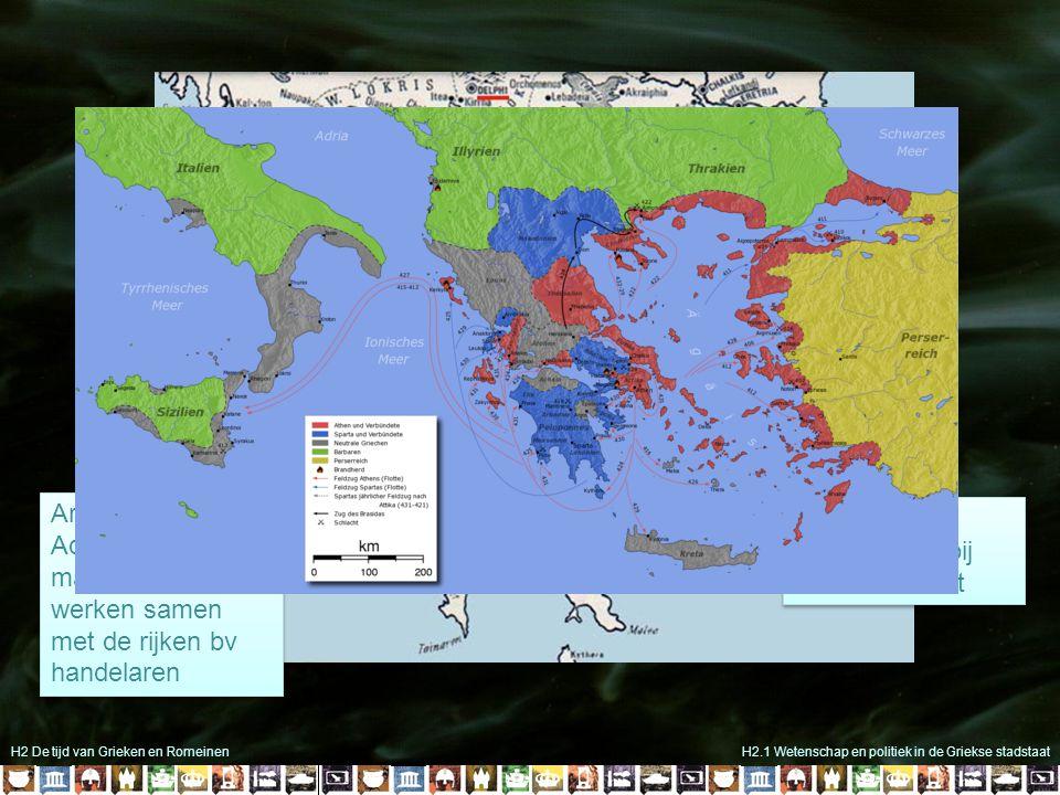 H2 De tijd van Grieken en RomeinenH2.1 Wetenschap en politiek in de Griekse stadstaat Griekenland geen politieke eenheid wél een culturele eenheid Gri