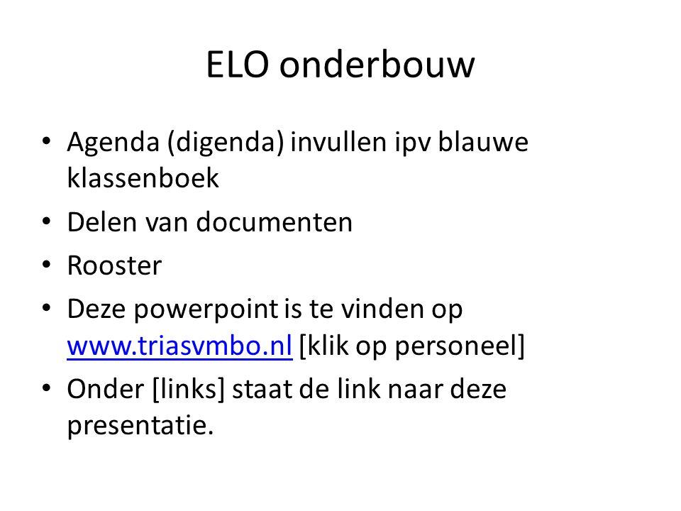 ELO onderbouw Agenda (digenda) invullen ipv blauwe klassenboek Delen van documenten Rooster Deze powerpoint is te vinden op www.triasvmbo.nl [klik op personeel] www.triasvmbo.nl Onder [links] staat de link naar deze presentatie.